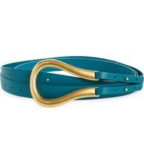 women's bottega veneta leather belt, size medium - mallard/ gold
