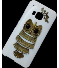 3d cute retro metal bronze owl branch back hard skin case cover for htc one m9
