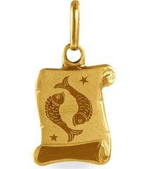 ciondolo in oro giallo pergamena segno zodiacale pesci per unisex