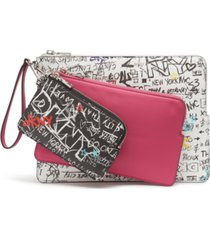 dkny ashlee graffiti wristlet pouches, set of 3