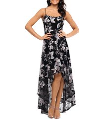 women's xscape floral embroidery high/low gown dress, size 16 - black