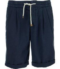 brunello cucinelli cotton bermuda shorts with drawstring and pleats