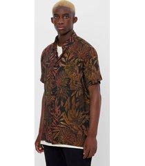 t-shirt met kraag en tropische print