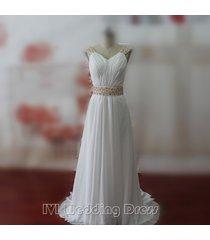 2016 boho wedding dresses with pearls sweep train beach wedding gowns