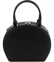 tuscany leather tl141872 ninfa - bauletto rotondo in pelle nero