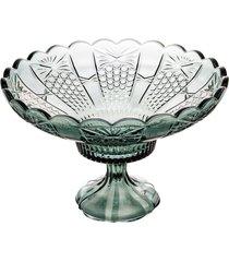 centro de mesa cristal com pé princess verde 32x21cm