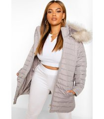 plus faux fur trimmed puffer belted coat, charcoal