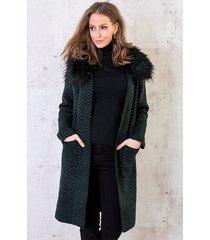 faux fur zigzag vest smaragd zwart