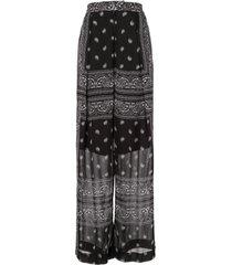 dion lee bandana-print sheer trousers - black