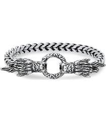 anthony jacobs men's stainless steel & simulated black diamond dragon head bracelet