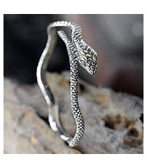 sterling silver bangle bracelet, 'king cobra' (indonesia)