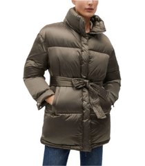 mango women's belt quilted coat