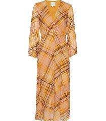 loch midi dress jurk knielengte geel second female