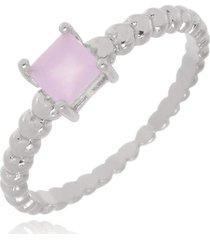 anel brenda quadradinho quartzo rosa di capri semi jóias x ouro branco incolor
