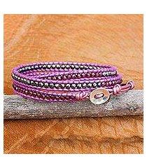 hematite and garnet wrap bracelet, 'lavender wine' (thailand)