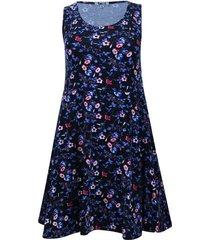 vestido estampado color azul, talla s
