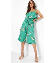 bloemen culotte jumpsuit met dubbele laagjes, green