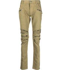balmain ripped multi-pocket skinny jeans
