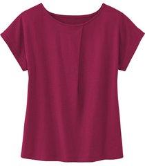 shirt met ronde hals en wijdteplooi van bio-katoen, wild berry 34