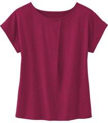 shirt met ronde hals en wijdteplooi van bio-katoen, bes 44