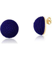 brinco botão rincawesky azul marinho