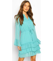 dobby tie waist flare sleeve mini dress, turquoise