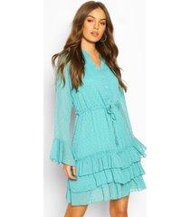 dobby mini jurk met wijde mouwen en ceintuur, turquoise