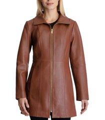 anne klein stand-collar leather coat