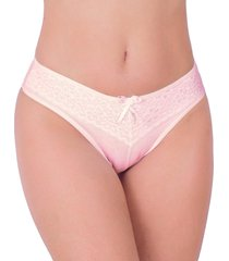 calcinha em cotton vip lingerie renda sobreposta rosa - kanui