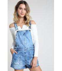 jardineira jeans feminina com barra a fio azul médio