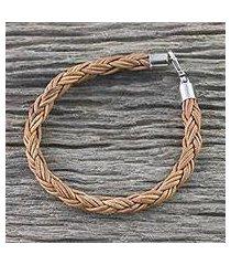 men's leather braided bracelet, 'thai insight in caramel' (thailand)