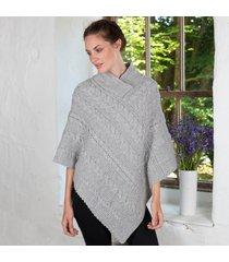 ladies aran cable knit poncho gray medium/large