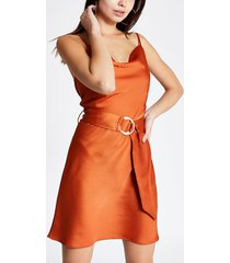 river island womens rust cowl neck belted slip dress