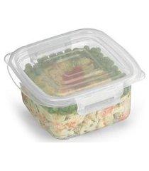 pote plástico microondas freezer quadrado com trava m 860ml