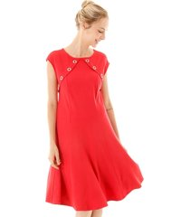 vestido aha malha com botões vermelha
