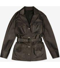 belted leather jacket black 38