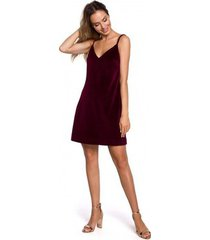 korte jurk moe m560 fluwelen mini-jurkje met spaghettibandjes - kastanjebruin
