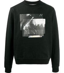 7 for all mankind graphic print cotton sweatshirt - black