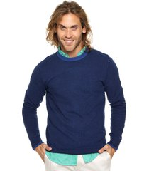 sweater azul tommy hilfiger textured two colour c-nk reg-fit