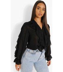 chiffon blouse met ruches en textuur, black