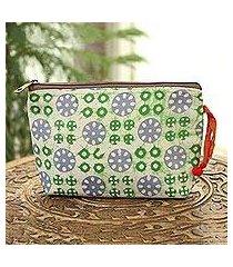 batik cotton cosmetic bag, 'creative beauty in white' (india)