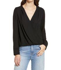 petite women's halogen cross front blouse, size small p - black
