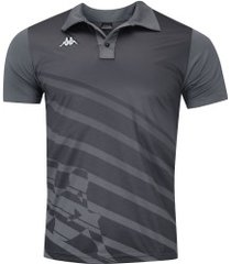 camisa polo kappa diagonale - masculina - cinza escuro