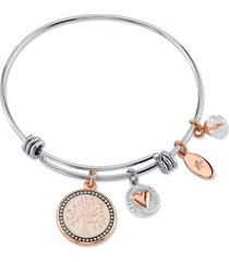 "unwritten ""my family, my love"" family tree bangle bracelet in stainless steel & rose gold-tone with silver plated charms"
