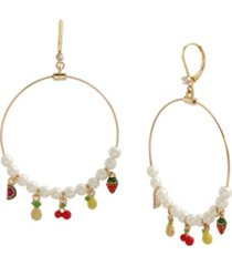 betsey johnson mixed charm gypsy hoop earrings