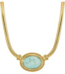 2028 gold tone turquoise semi precious oval stone necklace