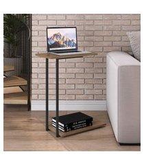 mesa lateral steel quadra artesano 2 prateleiras vermont e preto