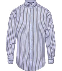 blue & navy striped fine twill stretch shirt overhemd casual blauw eton