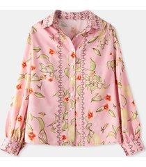 camicetta casual da donna a maniche lunghe con collo a bavero con stampa floreale