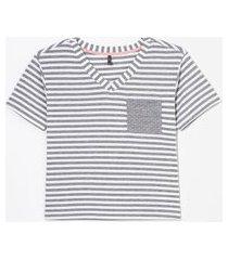 blusa de pijama manga curta listrada com bolso | lov | multicores | g